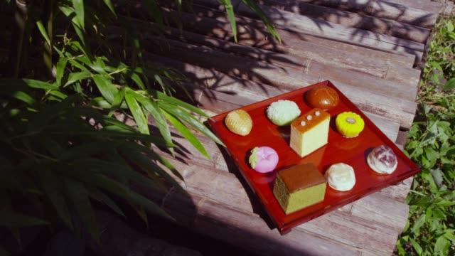 traditional japanese sweets and castella in nagasaki, japan - garnish stock videos & royalty-free footage