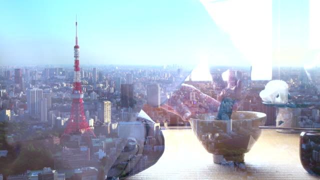 vídeos y material grabado en eventos de stock de tradicional ceremonia del té japonesa y paisaje urbano de tokio - sado
