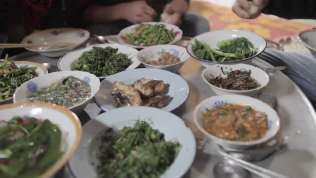 cu pan traditional lao meal / xam neua, laos - food state stock videos & royalty-free footage
