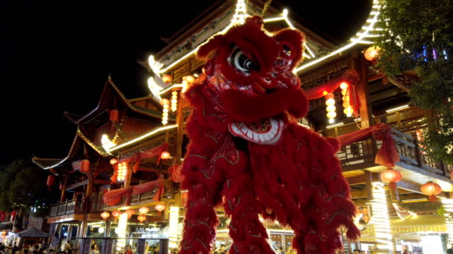 traditional lion dance,enshi,hubei,china. - customs stock videos & royalty-free footage