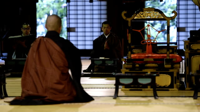 Traditional Monk Ceremony at a Japanese Temple