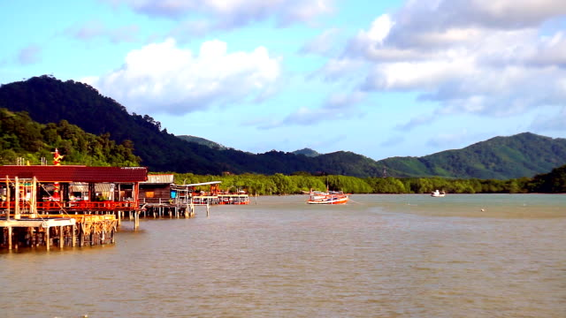 traditional over water stilt houses, ko lanta, thailand - ko lanta stock videos & royalty-free footage