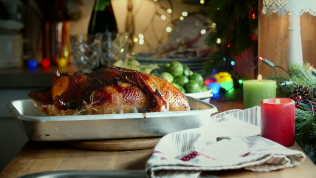 traditional roasted christmas duck for holiday dinner - brussels sprout stock videos & royalty-free footage