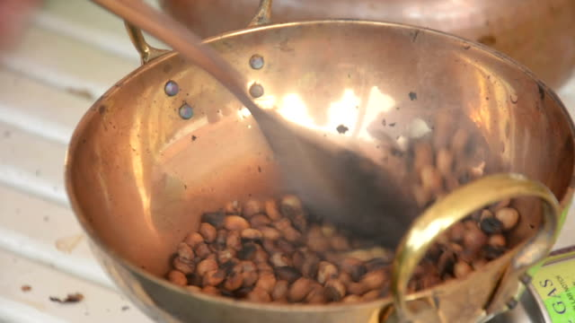 Traditional roasting of coffee in Thailand