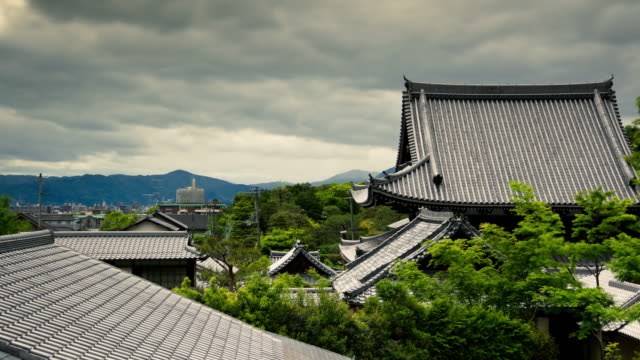 traditional roof in kyoto, japan - time lapse - kyoto temple stock videos and b-roll footage