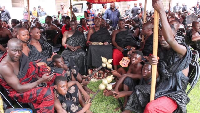 traditional rulers in the ashanti kingdom of ghana are gathered at the manhyia palace of the asantehene in kumasi to observe the death of the queen... - tradition stock videos & royalty-free footage