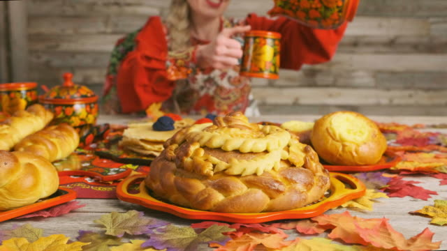 traditional russian karavai holiday bread - loaf stock videos & royalty-free footage