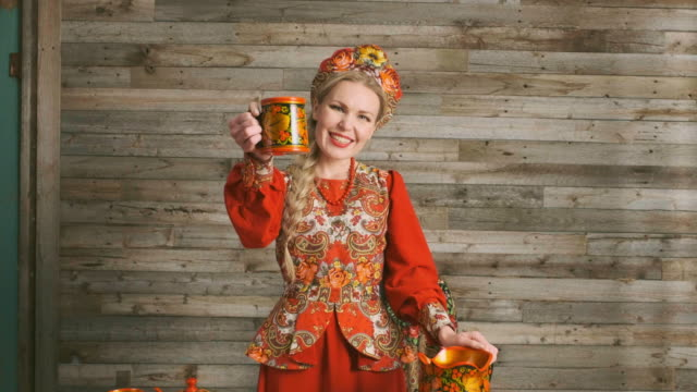 traditional russian karavai holiday bread - traditional clothing stock videos & royalty-free footage