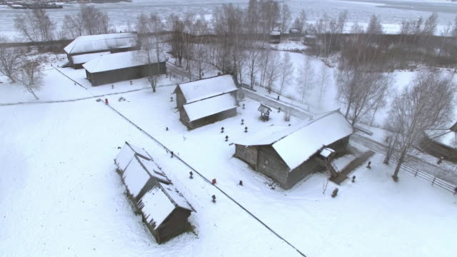 Traditional Russian village in winter