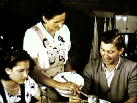 ms td traditional rustic italian family dinner / milan, italy - 1950 stock videos & royalty-free footage