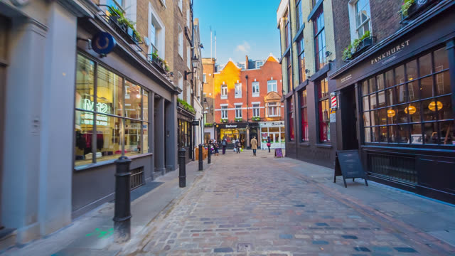 Traditional shopping streets in London's Soho.