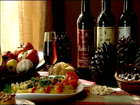 traditional spanish dishes and wine on table, autumn, villaviciosa de cordoba, andalusia, southern spain - french food and wine stock videos & royalty-free footage