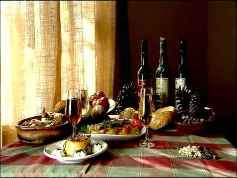 traditional spanish dishes and wine on table, autumn, villaviciosa de cordoba, andalusia, southern spain - pinecone stock videos & royalty-free footage