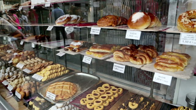 Traditional Spanish sweets and cakes in a shop