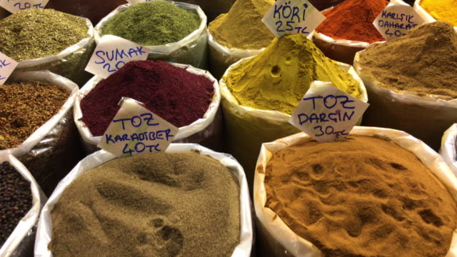 traditional spice shop in an old bazaar in eastern turkey - market stall stock videos & royalty-free footage