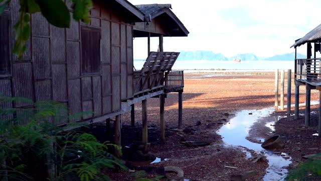 traditional stilt houses, old town, ko lanta, krabi, thailand - stilt house stock videos & royalty-free footage
