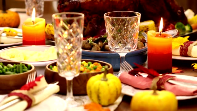 Traditional Stuffed Turkey with Side Dishes for Thanksgiving Day