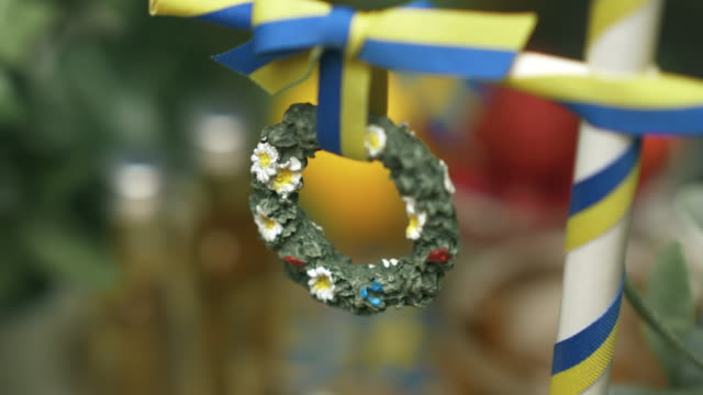traditional swedish midsummer decoration - solstice stock videos & royalty-free footage