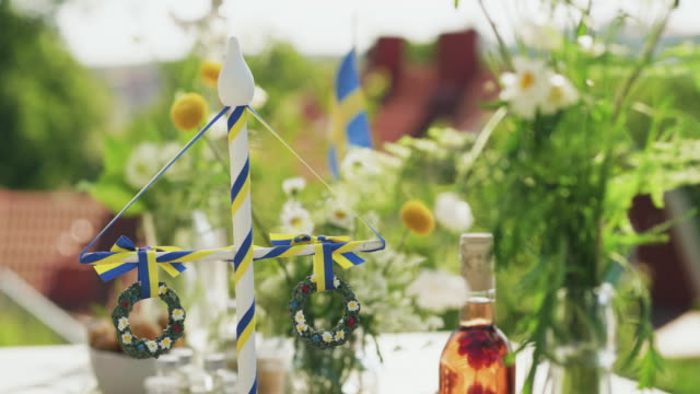 traditional swedish midsummer dinner outdoors - solstice stock videos & royalty-free footage
