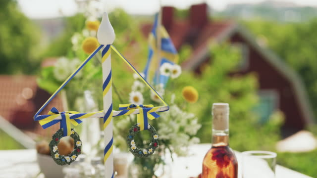 traditional swedish midsummer dinner outdoors - sweden stock videos & royalty-free footage