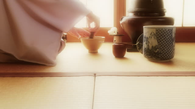 "traditional tea ceremony ""sado"" effect - tatami mat stock videos and b-roll footage"
