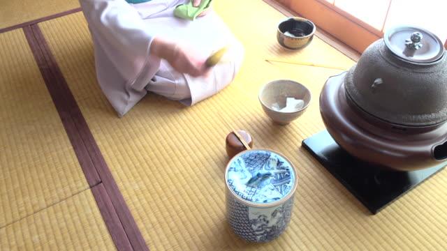 """vídeos y material grabado en eventos de stock de ceremonia del té tradicional """" sado""""  lapso de tiempo - 4 k - sado"""