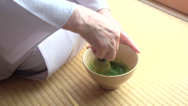 "traditional tea ceremony ""sado"" - kimono stock videos & royalty-free footage"