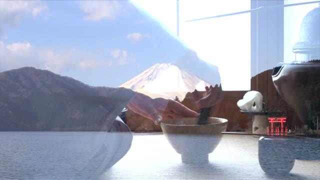 富士山と芦ノ湖の伝統的な茶道「佐道」 - 神奈川県点の映像素材/bロール