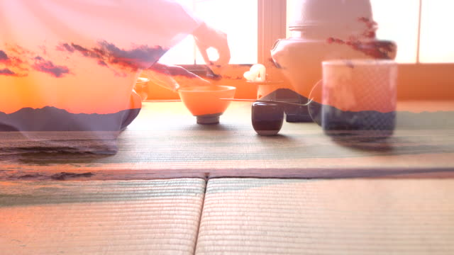 "traditional tea ceremony ""sado"" with mt fuji at sunset - tatami mat stock videos and b-roll footage"