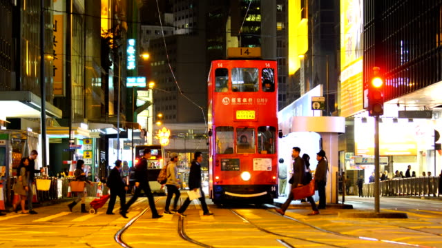 Traditional tramways cars in  in Hong Kong
