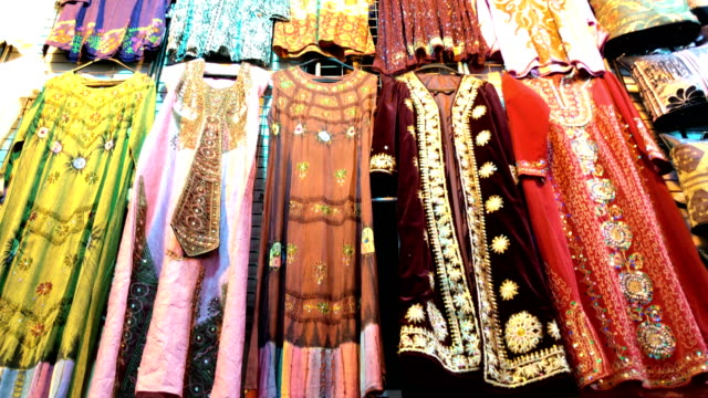 traditional turkish clothing at grand bazaar - grand bazaar istanbul stock videos and b-roll footage