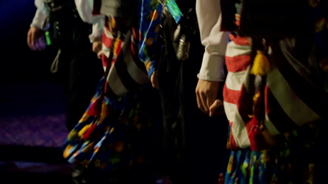 Traditional turkish dancers in colorful outfit