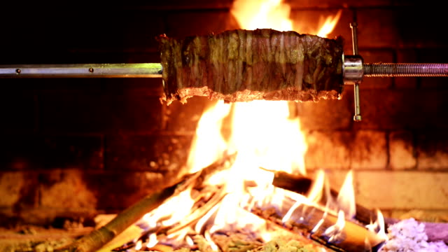 traditional turkish kebab on barbecue grill. - azerbaigian video stock e b–roll