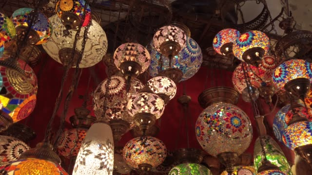 traditional turkish lamp decorations - souk stock videos & royalty-free footage