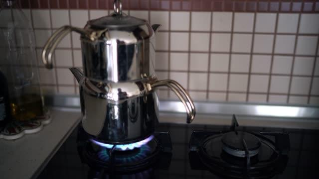 traditional turkish tea pot - tea pot stock videos and b-roll footage