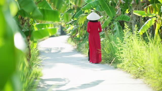 traditional vietnamese female walking through banana plantation vietnam - 赤のドレス点の映像素材/bロール