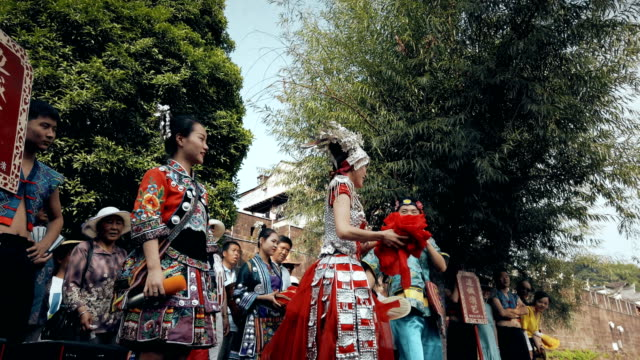 traditional wedding show of miao nationality in fenghuang(phoenix) ancient town,hunan, china. - cast member stock videos & royalty-free footage
