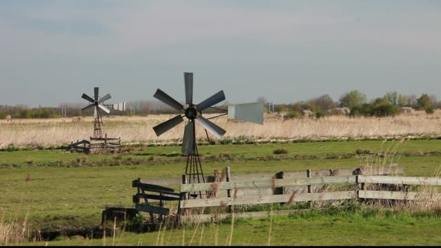 traditional wind pumps used to help drain low lying polder land reclaimed from the sea on the outskirts of amsterdam, netherlands - polder stock videos and b-roll footage