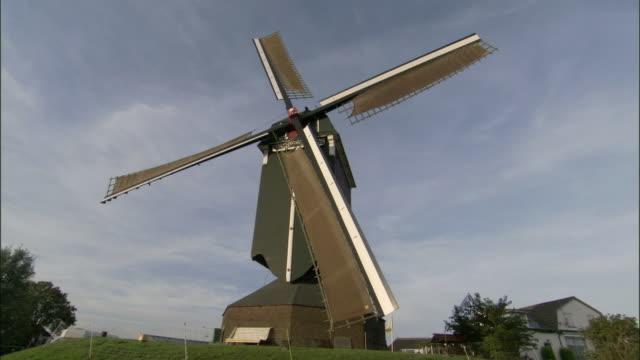 ws, la, traditional windmill in field, netherlands - dutch culture stock videos and b-roll footage