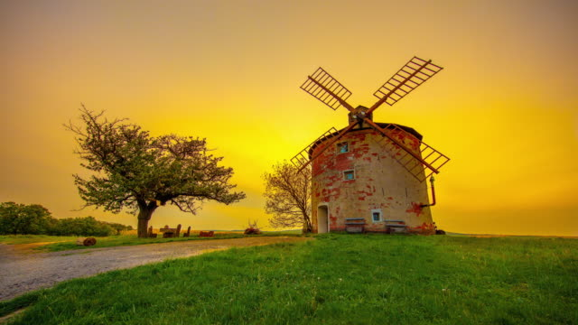 t/l traditional windmill in the moravia at sunrise - czech culture stock videos & royalty-free footage