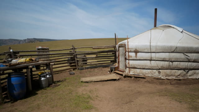 vídeos de stock e filmes b-roll de traditional yurt on land against sky during sunny day - ulaanbaatar, mongolia - ulan bator