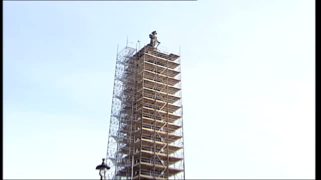 admiral nelson statue to be repaired england london trafalgar square ext low angle shot of admiral nelson statue pull out layers of scaffolding... - admiral nelson stock videos and b-roll footage