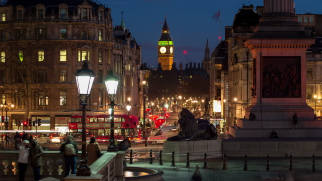 trafalgar square and big ben - city life stock videos & royalty-free footage