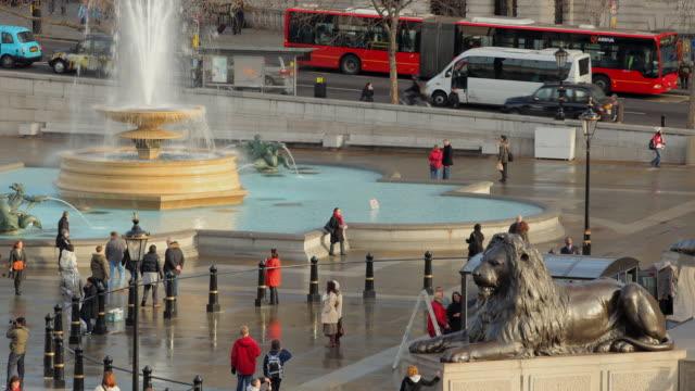 t/l zo ws ha trafalgar square, edwin landseer's lion guarding nelson's column and fountain / london, england - nelson's column stock videos & royalty-free footage