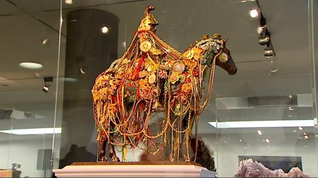 vídeos de stock, filmes e b-roll de trafalgar square fourth plinth contenders model of sculpture 'silkandar' by hew locke on display/ model of sculpture it's never too late and you... - model t