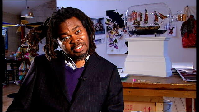 giant 'ship in bottle' sculpture east london yinka shonibare interview sot portsmouth models of hms victory in hms victory museum souvenir shop peter... - 雑貨点の映像素材/bロール