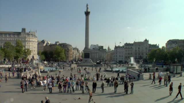 ws, trafalgar square, london, england - nelson's column stock videos and b-roll footage