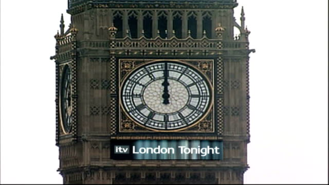 st martin in the fields church: billboard plans announced; big ben clock tower with 'itv london tonight' sign buckingham palace with 'itv london... - itv london tonight stock-videos und b-roll-filmmaterial