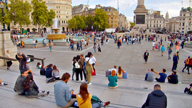 trafalgar square. tourist famous place. london - editorial stock videos & royalty-free footage