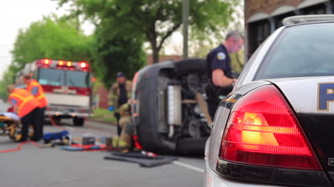 traffic accident and police car - wreck stock videos & royalty-free footage